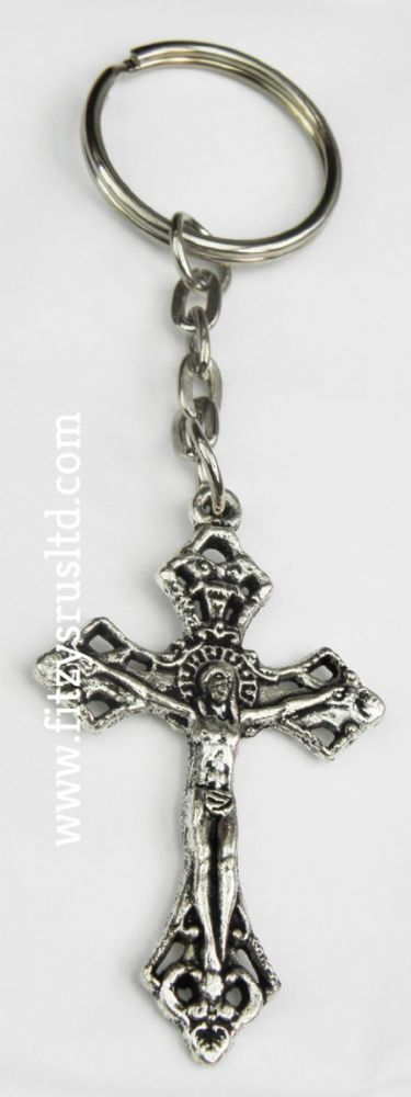50  x Cross Crucifix Jesus Metal Keyring Holy Religious